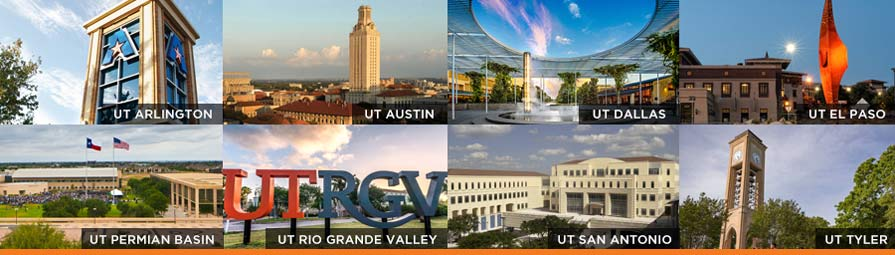 Collage of the 8 academic universities of the UT System